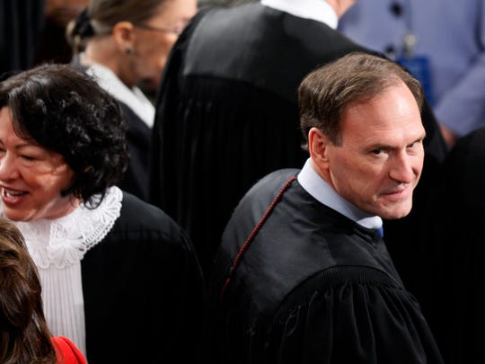 Alito and Justice Sonia Sotomayor are seen before President Obama delivers the State of the Union Address at the U.S. Capitol on Jan. 27, 2010.