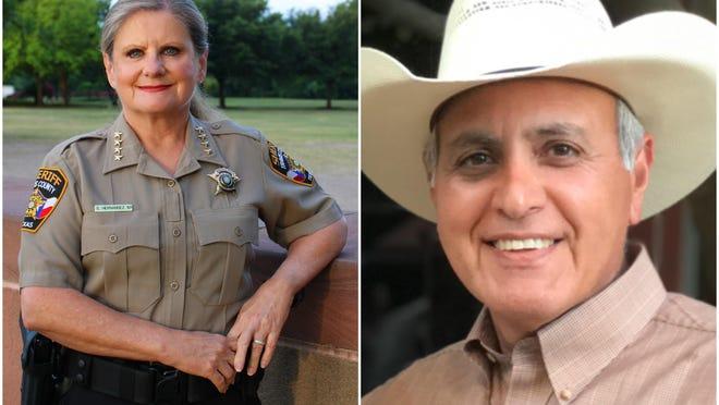 Sally Hernandez, left, is running against Raul Vargas for Travis County sheriff.