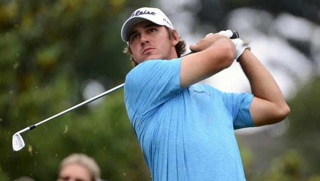 Brooks Koepka tees off on the 16th hole during the first round of the Wyndham Championship last week.
