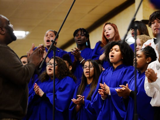 Members of the Helen Thackston Charter School Gospel Choir sing during the Fourth Annual B.M.A. MLK Image Awards and Scholarships Luncheon.