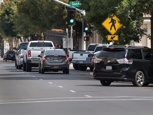 Some pedestrian crossings on Main Street in Downtown