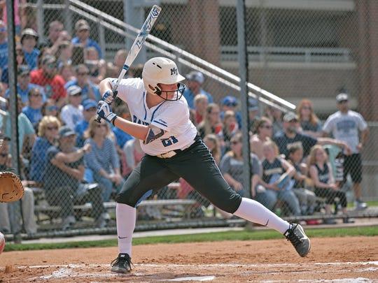 MTSU softball first baseman Lexi Cushing hits during