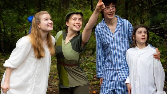 Peter Pan (Anna Vizzare, second from left) shows the