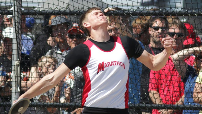 Marathon's Bryce Seubert releases the discus in Division 3 competition during the WIAA state track meet Friday in La Crosse.