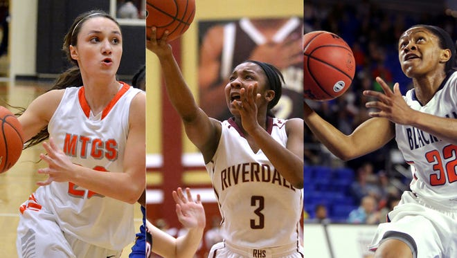Three Rutherford County girls basketball players were named Miss Basketball finalists. From left, are MTCS guard Ashlynd Wilkerson, Riverdale guard Anastasia Hayes and Blackman guard Crystal Dangerfield.