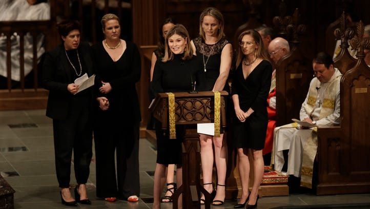 Jenna Bush Hager speaks during a funeral service for