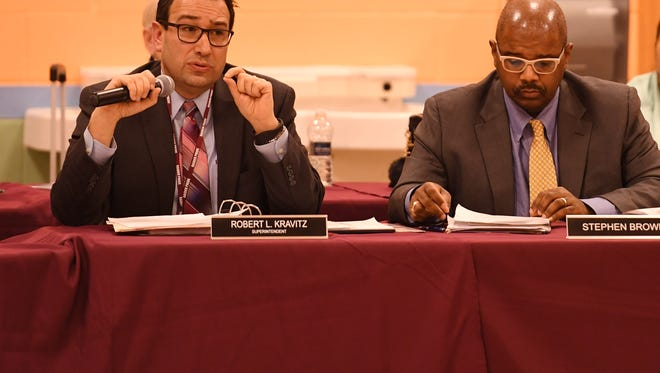 Schools Superintendent Robert Kravitz, left, and President Stephen Brown at an Englewood Board of Education meeting in March.