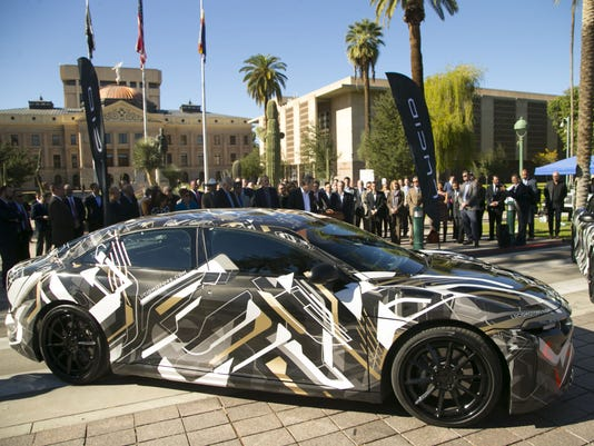 An All Electric Prototype Car From Lucid Motors Is Shown During A 2016 Press Conference Announcing That The Company Will Open Manufacturing Plant Near
