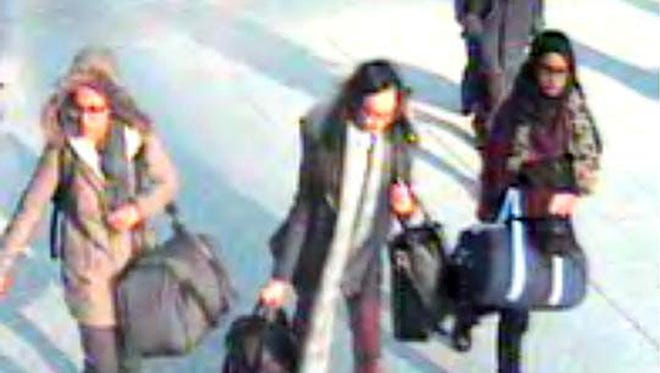 A still image grab of the three girls taken from surveillance footage issued by the Metropolitan Police in London on Feb. 23.