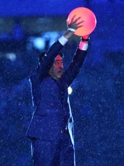 Japan Prime Minister Shinzo Abe holds the Olympic torch