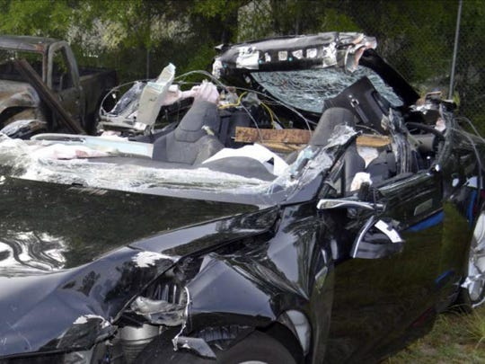 The Tesla Model S that was being driven by Joshau Brown, who was killed, when the sedan crashed while in self-driving mode on May 7, 2016.