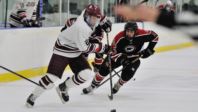 Don Bosco's Ryan McLinskey (2) handles the puck during their game against Glen Rock in the Bergen County Tournament Final at the Ice Vault in Wayne.
