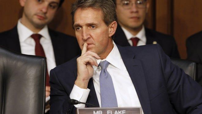 Sen. Jeff Flake, R-Ariz., participates in a Senate hearing in August in Washington, D.C.