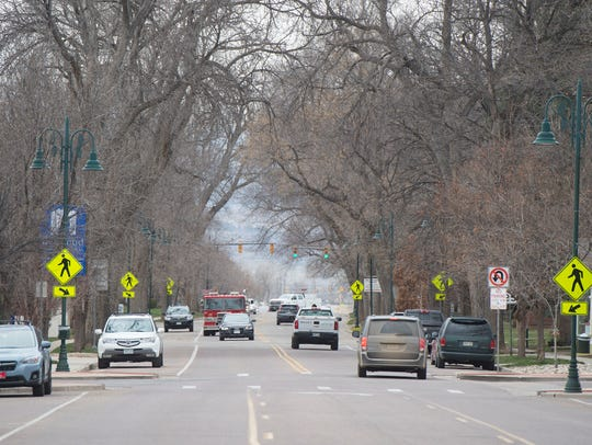Traffic flows down Mountain Avenue in Berthoud on Wednesday,