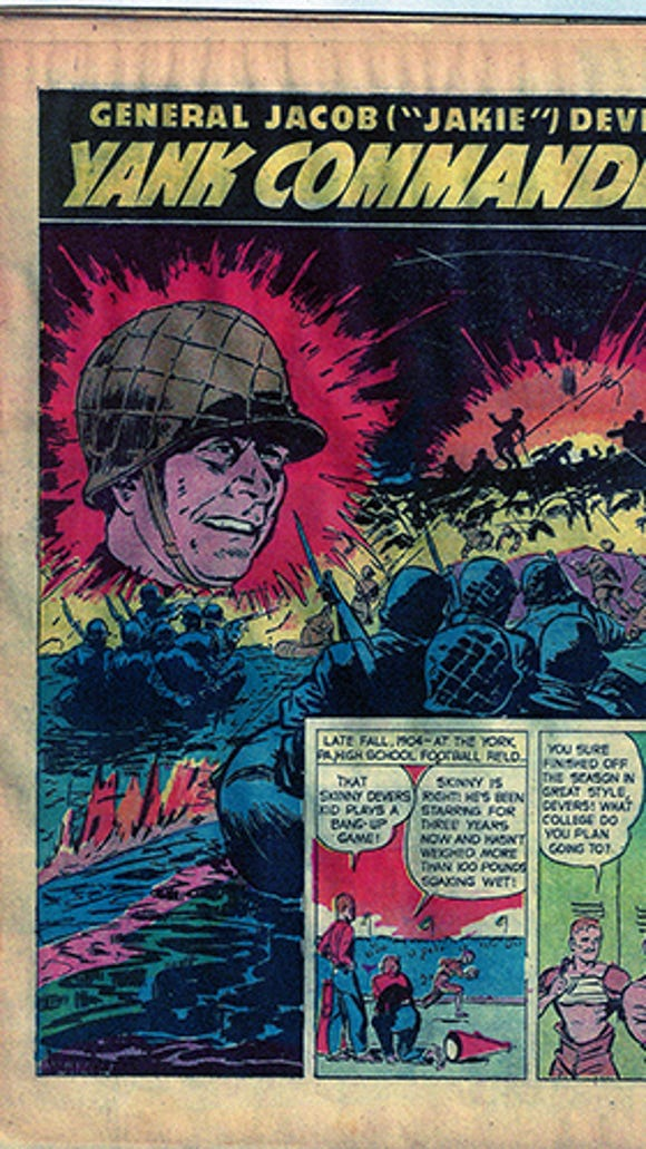 """This was the intro page to the True Comics piece on York's Jacob L. """"Jakie"""" Devers. Commander comic"""