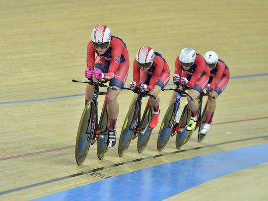 Chloe Dygert (front) helped the American team to the bronze medal in the team pursuit.