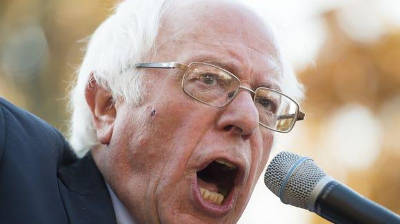 Sen. Bernie Sanders (I-VT), speaks during a rally on