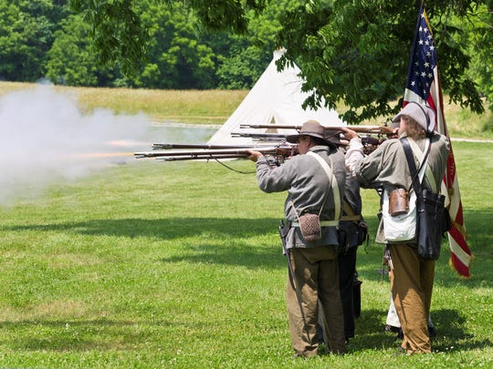 Civil War re-enactors will fire muskets at the end of the evening, followed by the playing of taps.