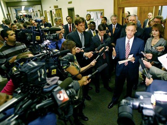 Members of the press speak with Gov. Bill Haslam on Feb. 17, 2011.