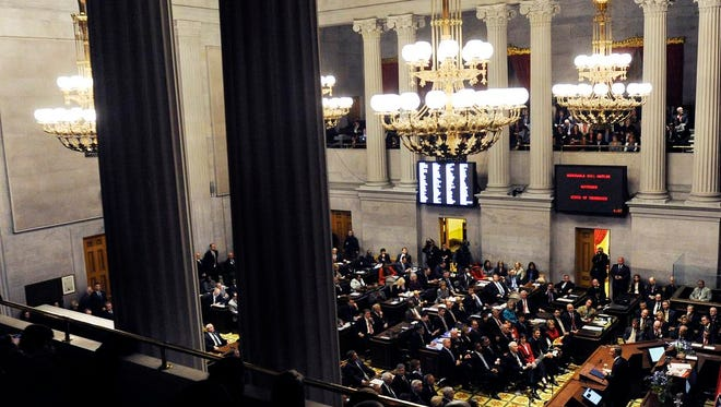 Gov. Bill Haslam give his annual State of the State address in the house chambers on Monday Feb. 9, 2015.