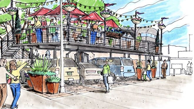 An artist's rendering of what a second-story outdoor deck and seating area might look like at The Rio Grande Mexican Restaurant, 143 W. Mountain Ave.