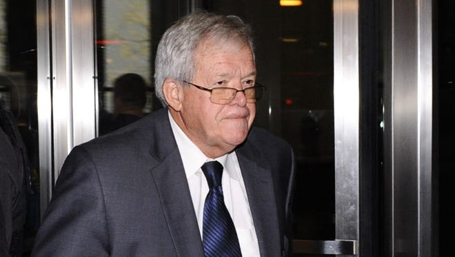 A federal judge on April 13, 2016, indicated that he will consider that Dennis Hastert falsely accused a man of extorting him when he became the focus of a criminal investigation for bank fraud.