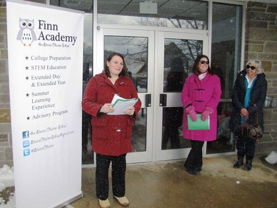 Martina Baker, left, Finn Academy board of trustees