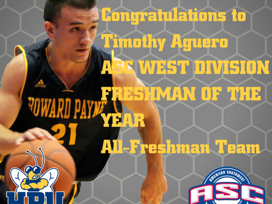 Former Lake View standout Timothy Aguero, who plays for Howard Payne University, was chosen Freshman of the Year for the Western Division of the American Southwest Conference.