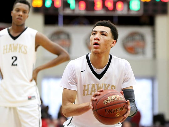 Hudson Catholic's Jahvon Quinerly #5 shoots a free throw against St. Anthony during a high school basketball game at the 2017 Hoophall Classic on Saturday, January 14,, 2017, in Springfield, MA.