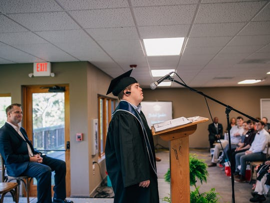 Zachary Bennett, who was among the graduates, gave a speech.