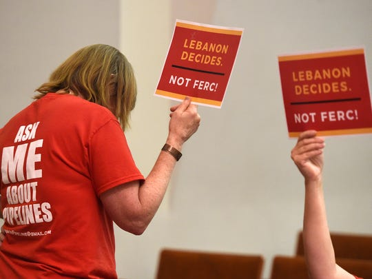 Citizens in opposition to the proposed Sunrise pipeline protested by making statements and displaying protest signs Tuesday evening. The Federal Energy Regulatory Commission (FERC) hosted a public meeting at Lebanon Valley College, Tuesday June 14.