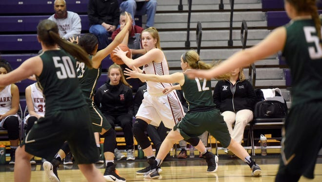 Newark sophomore Morgan Sharps looks for an opening in Dublin Jerome's defense. The Wildcats defeated the Celtics 51-23 and will play for the Division I district title at 7:30 Saturday at Ohio Dominican University.