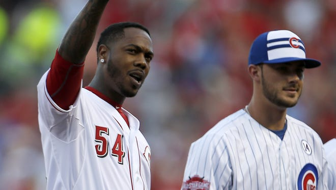 National League pitcher and Reds closer Aroldis Chapman is introduced prior to the 2015 MLB All-Star Game.