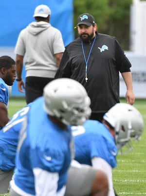 Detroit Lions head coach Matt Patricia looks over his players as the team hits the field for training camp on Friday.