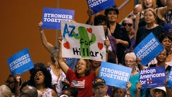 Hillary Clinton supporters cheer Michelle Obama at