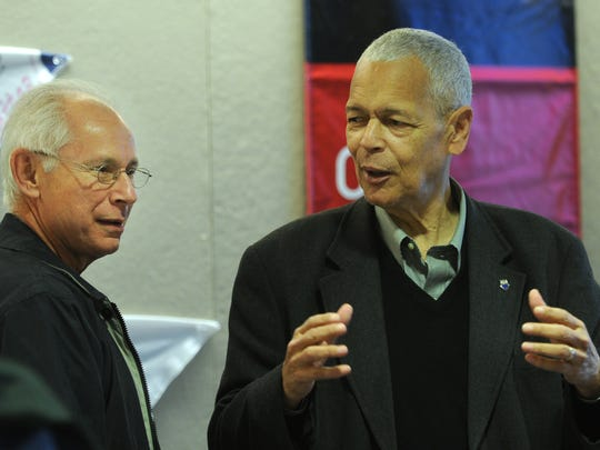 Joe Levin, left, Southern Poverty Law Center co-founder, with Julian Bond, first president of SPLC, during a visit to the Civil Rights Memorial Center in Montgomery, Ala. on Tuesday, March 3, 2009.  (Lloyd Gallman, Montgomery Advertiser)