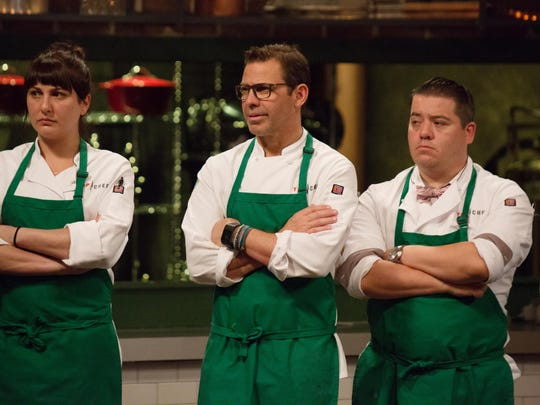 """On the """"Choke Holds and Clammy Hands"""" episode of """"Top Chef,"""" contestants Amanda Baumgarten, John Tesar and Katsuji Tanabe listen to what judges have to say about their dishes."""