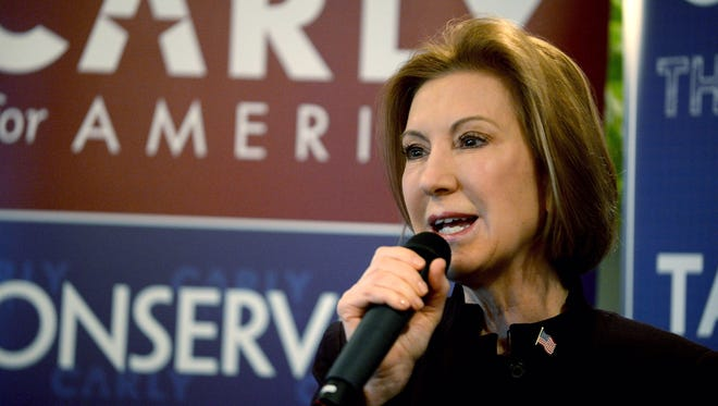 Carly Fiorina campaigns in Manchester, N.H., on Feb. 8, 2016.