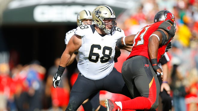 New Orleans Saints guard Tim Lelito sets to block against the Tampa Bay Buccaneers on Dec. 13, 2015 in Tampa.
