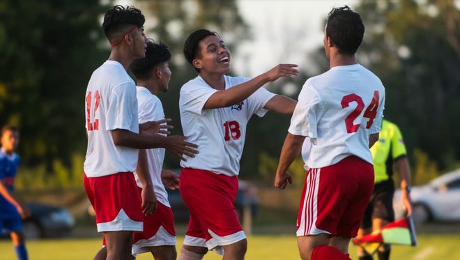 Vineland celebrates a 1-0 victory over visiting Millville at the Vineland Soccer Complex on Wednesday, September 20.