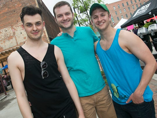Darrin Kromminga, 28, left, John Patrick, 28, middle,