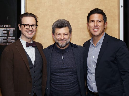 Director Matt Reeves (from left), star Andy Serkis