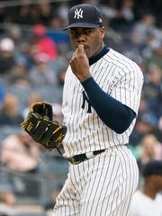 May 12, 2018; Bronx, NY, USA; New York Yankees pitcher