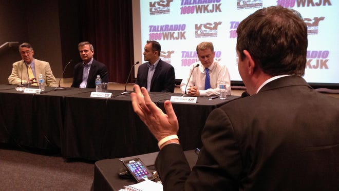 All four GOP gubernatorial candidates meet for a debate on Kentucky Sports Radio including, from left, Will T. Scott, Hal Heiner, Matt Bevin and James Comer.