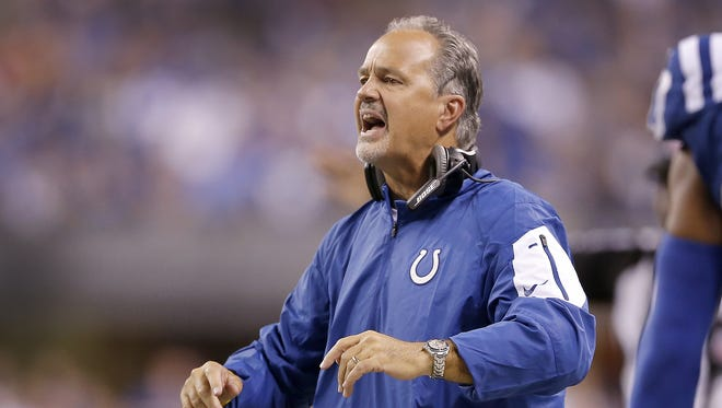 Indianapolis Colts head coach Chuck Pagano argues a call by the officials in the first half of their game against the New York Jets Monday, September 21, 2015, evening at Luca Oil Stadium.