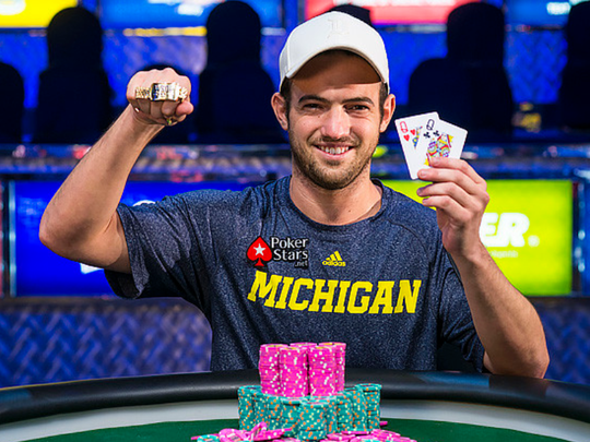 Joe Cada celebrates his second career WSOP bracelet