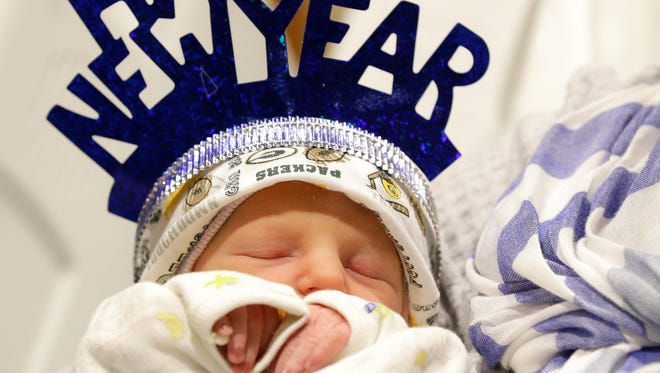 Cody Haldiman was born at about 2:30 a.m. on New Year's Day at St. Vincent Hospital in Green Bay. Cody was the first baby to be born in 2017 in the Green Bay area. Sarah Kloepping/USA TODAY NETWORK-Wisconsin