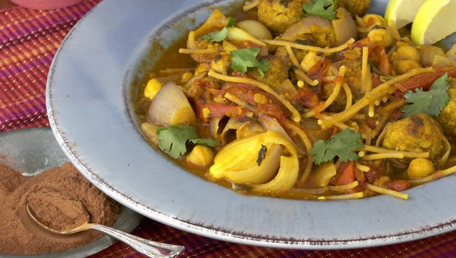 Vegetarian Harira-    Harira is a lamb dish served as the end-of-the-day fast-breaking meal during Ramadan. The vegetarian version uses Gimme Lean sausage.
