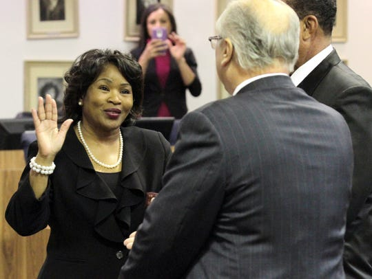 Mary Morrison takes the oath of office for the Lafayette