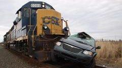 The scene of the fatal train crash in Montgomery County.
